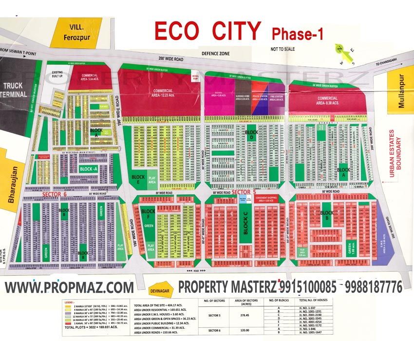 ECOCITY MULLANPUR SIZE WISE MAP